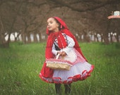 Little Red Riding Hood Tutu Dress and Hooded Cape. Pageant Play Costume Halloween Birthday Little Red Riding Hood Dress Apron and Hood
