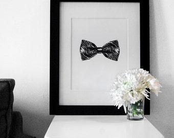 Fashion Illustration: Men's Bow Tie Art Print (Charcoal + Mixed Media)