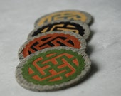 Swastika Hanji Paper Magnets OOAK Buddhist Symbol Earthy Tones Zen Asian Decor Handmade (Set of 4)