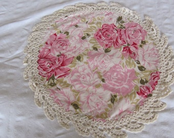Vintage Pink Roses Crochet Edge Doily Pillowcase Shabby Cottage Chic