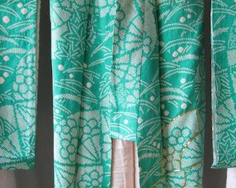Vintage Japan Blue Green Gold Tie Dye Shibori Kimono