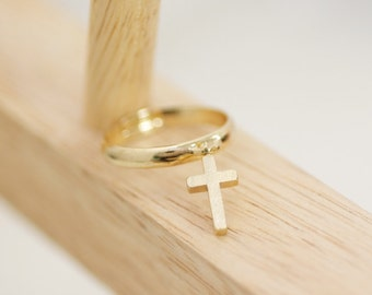 Cross Ring, Holiday Gift, Adjustable Ring, Dangle Ring, Charm Ring