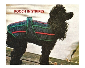 Digital Download Crochet Dog Coat Pattern - Vintage Striped Doggy Fashion Crochet Jacket PDF Pattern File Crochet Supplies Crochet Patterns