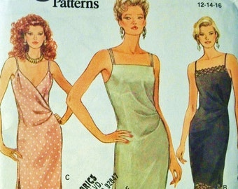 Vintage Vogue Pattern 8391 Strappy Side Slits Party Dress - Sz 12-16 RARE Uncut & FF Cocktail Dress Sewing Supplies Craft Supplies