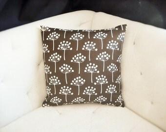 Florine Lotta Jansdotter Print 18x18 Pillow Cover Brown White Sarsaparilla Echo