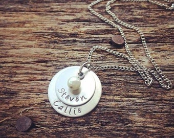 Personalized Hand Stamped Necklace Mothers Necklace