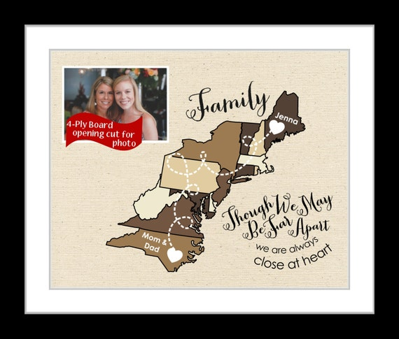 Moving Away Gift Family Gift East Coast Map Present