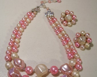 Vintage Japan Double Strand Choker Style Necklace with Matching Clip-On Earrings, Pink & White Faux Pearls Beads