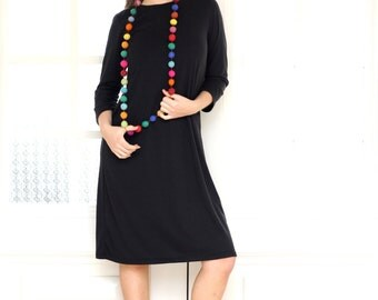 Little Black Dress, Autumn Dress, Basic Black Dress, 3/4 Sleeved Dress, Long sleeves Black Dress, Business Dress