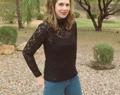 Vintage 1990s Black Lace Long Sleeve Top / Black Sheer Lace Stretch Top