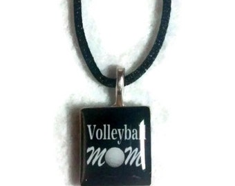 Volleyball Mom Scrabble Tile Ice Resin Pendant Sports Necklace