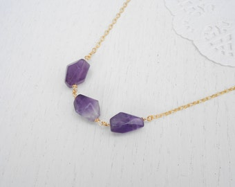 Chunky gemstone jewelry, Gold amethyst necklace, February birthstone