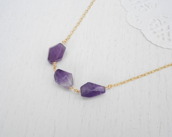 Chunky gemstone necklace, Gold amethyst necklace, February birthstone