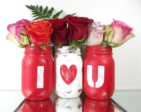 Valentines Day Distressed Mason Jars