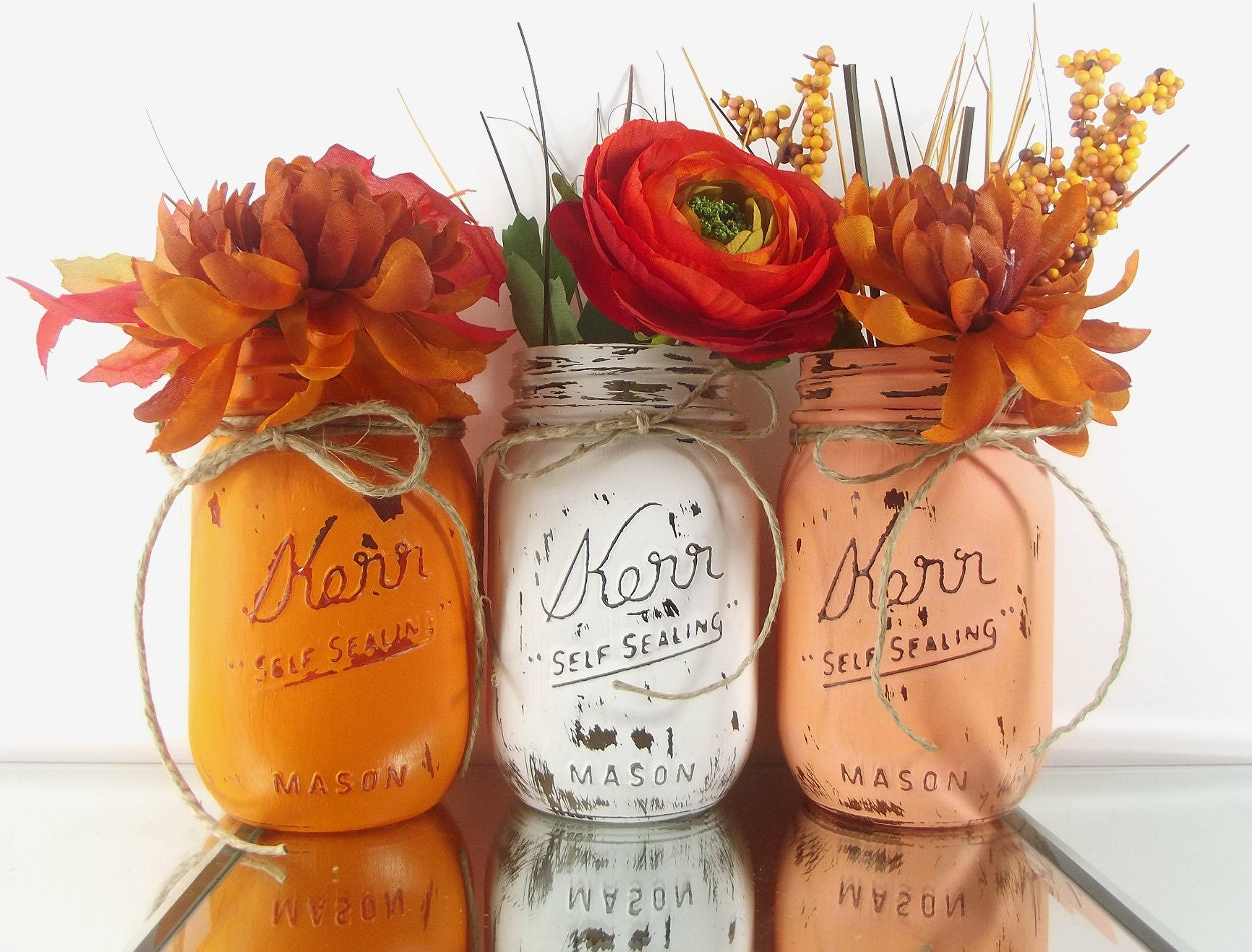 Fall decor mason jar centerpieces autumn decor home decor for Home decor centerpieces