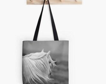 Horse tote, shopping bag, tote bag, equine photo, photo bag, horse bag, white pony