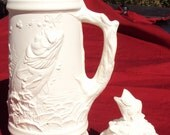 """Ready to Paint ,Ceramic Bisque Bass Fish Stein,  Clear Glazed inside,  17"""" high"""