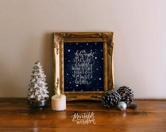 Oh Holy Night Christmas printable wisdom holiday decoration, wall art decor poster christmas carol, calligraphy print typography christian