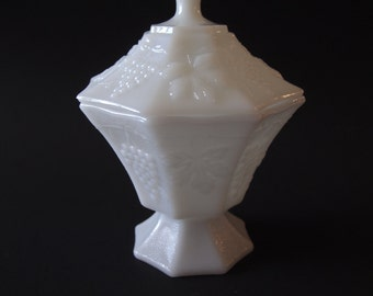1970s Indiana Glass Milk Glass Candy Jar