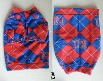 KU Fleece Coat for Small Dog or Cat - Small - University of Kansas Jayhawks - Argyle