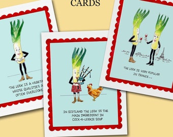 Vintage Food Cards, Retro Food, Unassuming Leek Note Cards, Anthropomorphic, Funny Food, Humorous, Food Art, Hostess Gift, Chef, Cooking