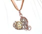 SALE - Mechanical Wire Wrap Heart Steampunk Pendant