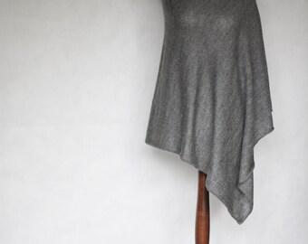 Pullover women's, wrap sweater, gray poncho, gray scarf, women's sweater, wool cape, gray sweater,knit scarf,knit sweater,turtleneck sweater
