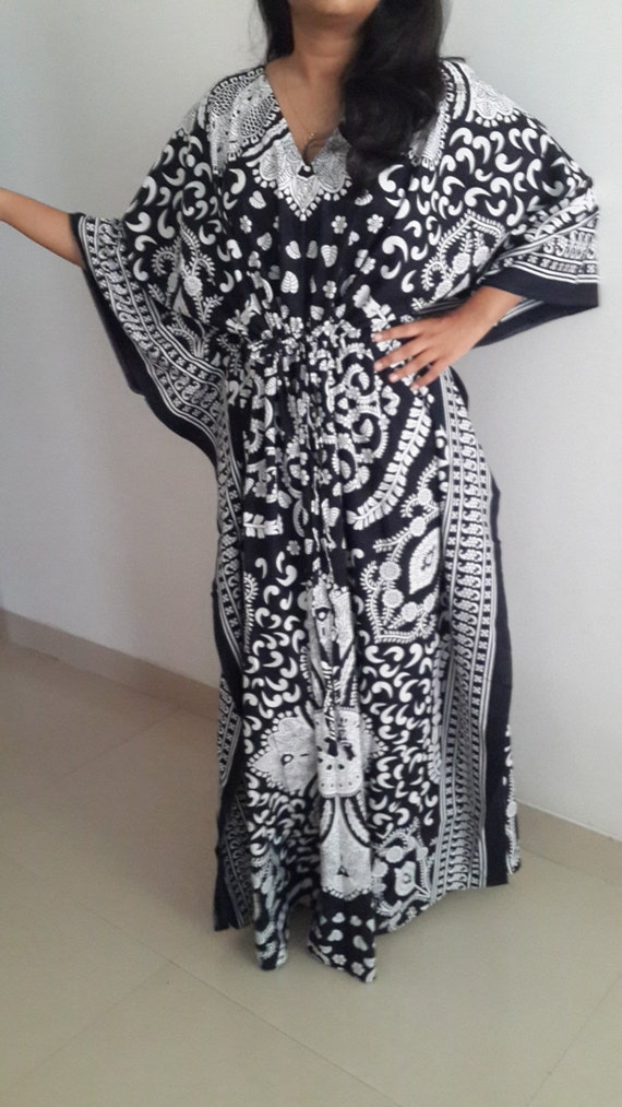 Black amp; White Kaftan Maxi Dress, Baby Shower, Caftan, Cotton Dress