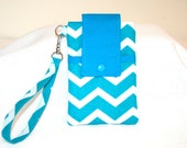 Teal White Chevron iPhone 6, 6Plus Cell  Bag Wristlet or Cross Body  Print Detachable Strap Digital Camera Bag MP3 Player Bag or iPod Bag