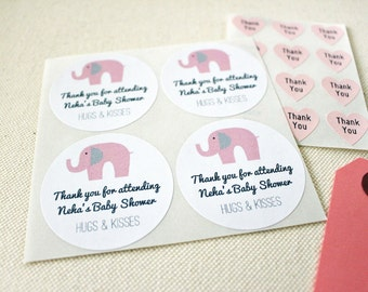 Pink Elephant Baby Shower Favor Seals Labels Stickers. Mason Jar Labels. Girls Birthday Party Favor Labels Stickers