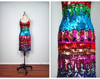 RETRO Sequin Dress ‣ Fully Sequined Trophy Dress ‣ Geometric Abstract Embellished Dress ‣ 80s Party Dress S