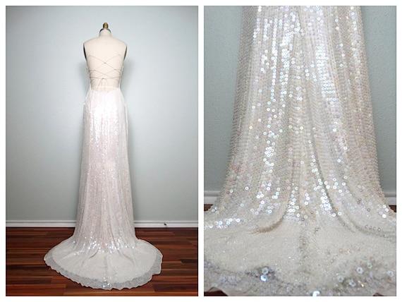 Heavy wedding dress w long beaded sequined train iridescent for Heavy beaded wedding dresses