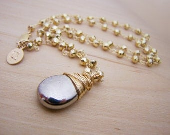 Teardrop Dainty Pyrite Briolette Yellow Gold Filled Wire Wrapped Necklace / Gift for Her