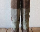 Stunning Vintage 1970s Patchwork Enzo Albanese Suede Boots