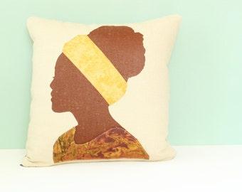 Tribal Pillow, Throw Pillow Cushion, 16 x 16 Pillow, Linen Pillow, Ethnic Decor, Ethnic Pillow, African Decor
