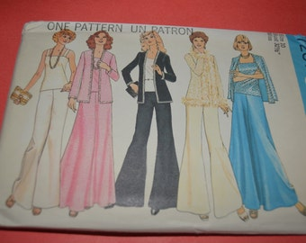 Vintage 70s Simplicity 7231 Misses Cardigan  Camisole Top Skirt and Wide Leg Pants Sewing Pattern - UNCUT - Sizes 10 Bust 32 1/2