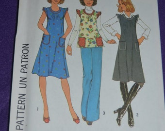 Simplicity 7664 Misses Dress or Jumper or Top Sewing Pattern - UNCUT - Sizes Small (8-10) or Size Medium (12- 14)