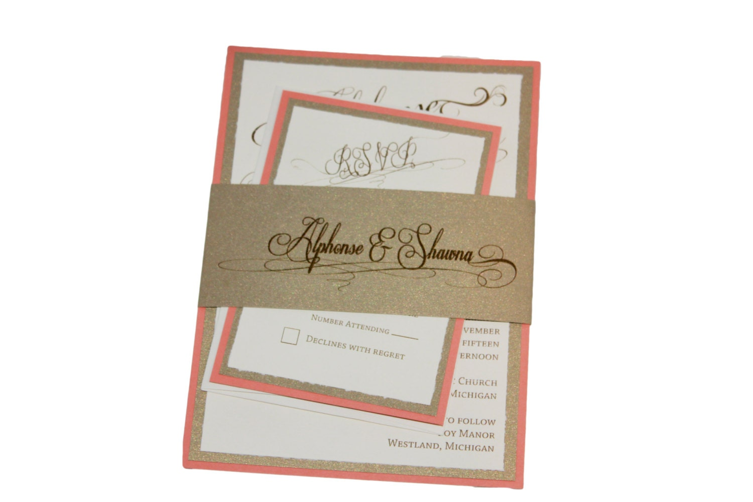 Cream And Gold Wedding Invitations: Coral Gold And Cream Wedding Invitation Peach And By