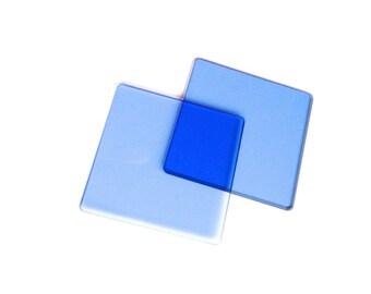 Vintage blue lens glass square lenses cobalt supplies steampunk set of 2 art industrial cyberpunk gothic