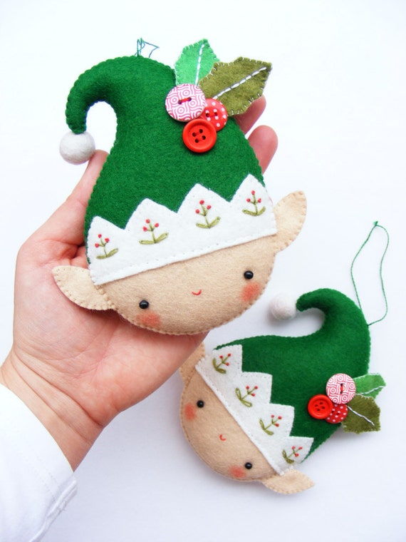 PDF pattern - Christmas elf - Felt Christmas ornament, hand sewing DIY project, embroidered festive decoration