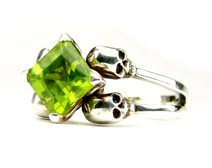 Double Skull Engagement Ring with Square Green Peridot in Sterling Silver - All Sizes