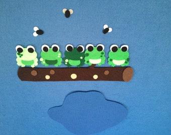 5 Green & Speckled Frogs Felt Board Set