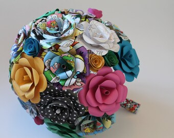 Spunky and colorful comic book, paper, and mixed media bridal bouquet