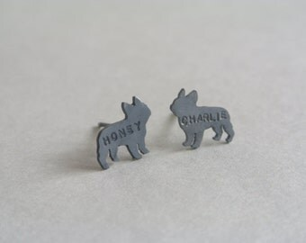 Personalized French Bulldog Earrings