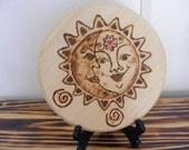 Wall plaque, wood burned wall plaque, pyrography wall plaque, sun and moon wall plaque, wall hanging.