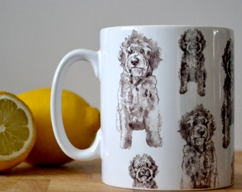 Labradoodle Mug with Oodles and Oodles of Labradoodles. Stylish Black & White Labradoodle mug by Bethany Moore