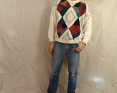 Straight Killer Vintage 80's Loose Knit Diamond Patterned Colorful Mens' Sweater by Etchings