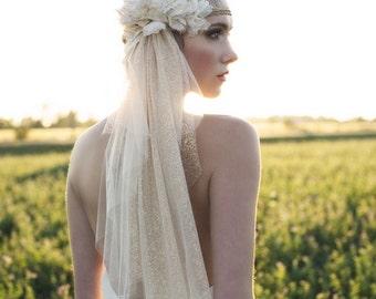 Bronze Juliet Veil, Juliet Veil, Wedding Veil, Wedding Cap Veil, Bridal Veil, Vintage Veil, Silver Veil, Flower Veil, Lace Veil, SARAH JANE