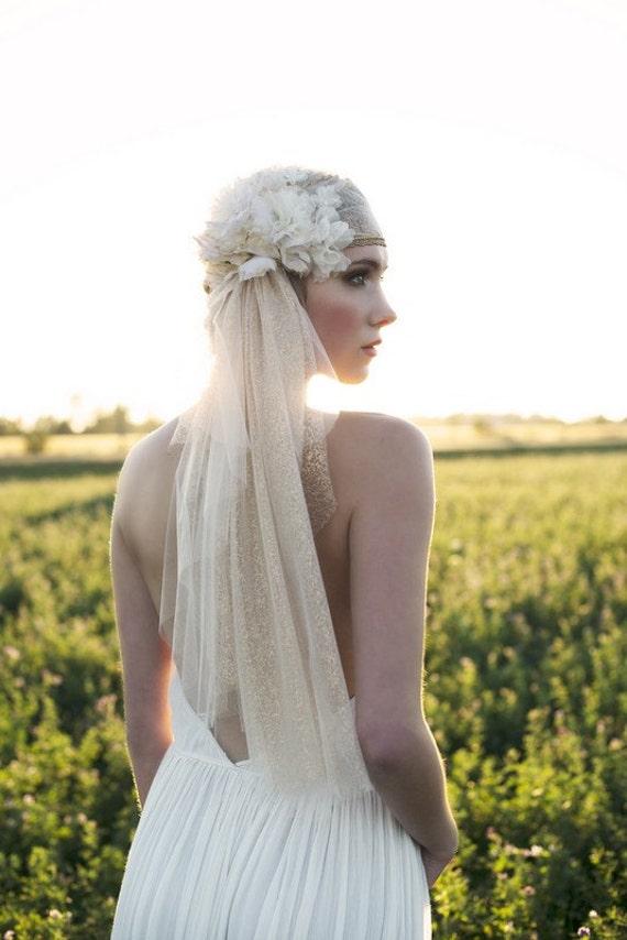 SARAH JANE Gold Lace Cap, Ivory Lace Cap, Juliet Veil, Wedding Veil, Wedding Lace Cap, Bridal Lace Cap, Bridal Juliet Veil, Lace Cap