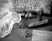 Bonjour - Original Fine Art Photograph (home decor, feminine, retro, black and white, lace, earrings, lipstick)